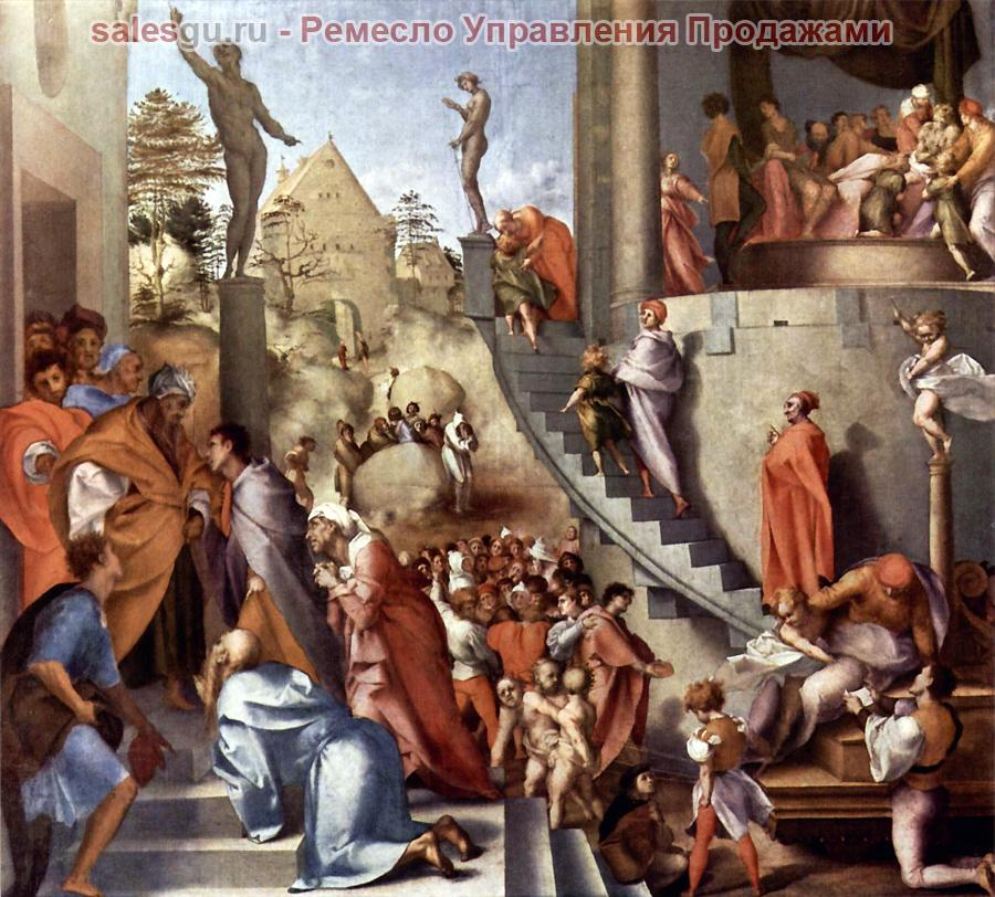 Картинка: Иосиф в Египте  Художник Якопо Понтормо (24.05.1494 – 02.01.1557) - итальянский живописец, представитель флорентийской школы, один из основоположников маньеризма.